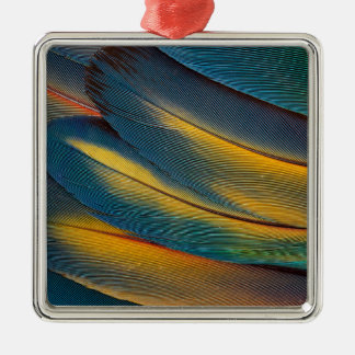 Scarlet Macaw feather close up Silver-Colored Square Ornament
