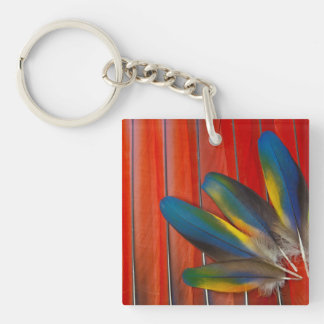 Scarlet Macaw Feather Design Keychain