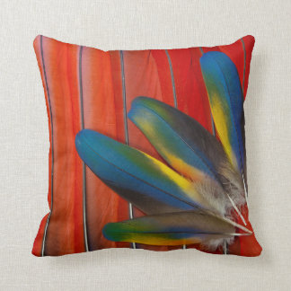 Scarlet Macaw Feather Design Throw Pillow