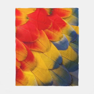 Scarlet Macaw feathers close-up Fleece Blanket