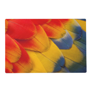 Scarlet Macaw feathers close-up Laminated Placemat