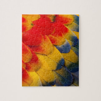 Scarlet Macaw feathers close-up Puzzles