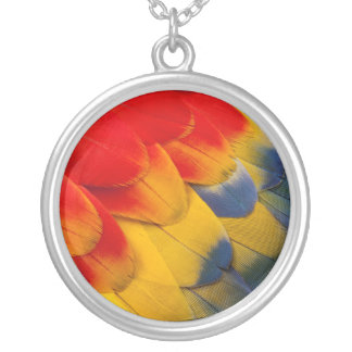 Scarlet Macaw feathers close-up Silver Plated Necklace