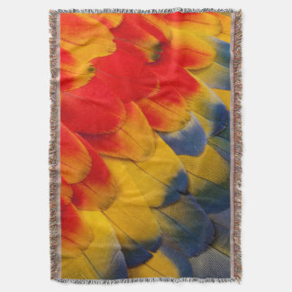Scarlet Macaw feathers close-up Throw Blanket