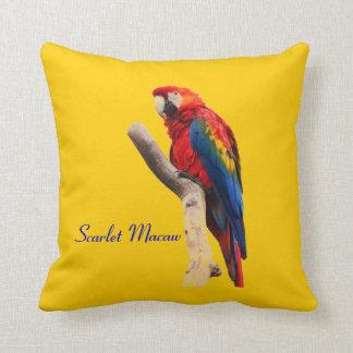 Scarlet Macaw Gold Throw Cushion