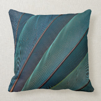 Scarlet macaw parrot feather throw pillow