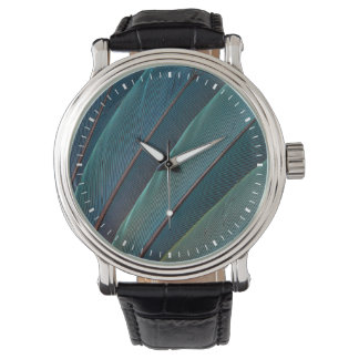Scarlet macaw parrot feather wristwatch