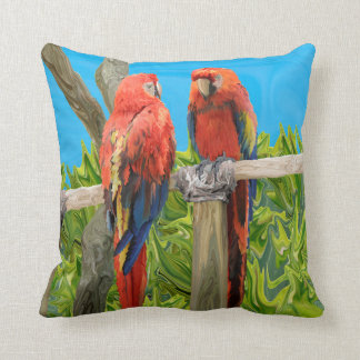 Scarlet Macaw Parrots Perching Throw Pillow