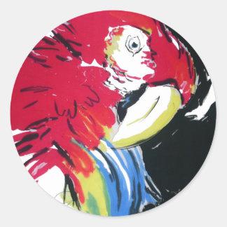 Scarlet Macaw Portrait Classic Round Sticker