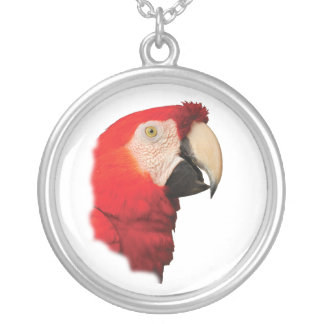 scarlet macaw silver plated necklace