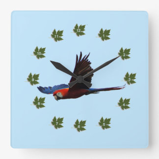 Scarlet Macaw Square Wall Clock
