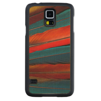 Scarlet Macaw Tail Feathers Carved Maple Galaxy S5 Case