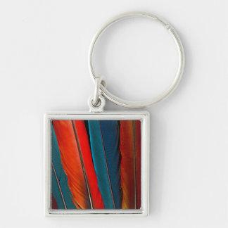 Scarlet Macaw Tail Feathers Keychain
