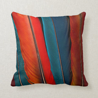 Scarlet Macaw Tail Feathers Throw Pillow