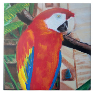 Scarlet Macaw Wildlife Bird Animal Jungle Tile Art