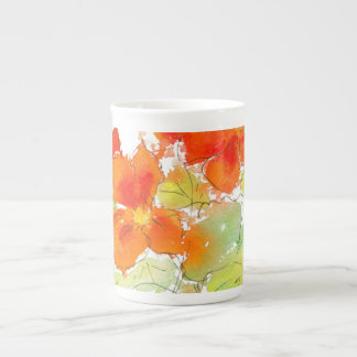 Scarlet Nasturtiums, Watercolor and Ink on White Tea Cup
