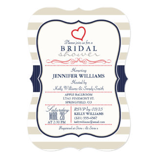 Scarlet, Navy, Eggshell Stripes Bridal Shower Card