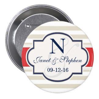 Scarlet, Navy, Eggshell Stripes Wedding Pinback Buttons