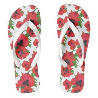 Scarlet Oriental Poppies Pattern on White Flip Flops