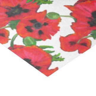 Scarlet Oriental Poppies Pattern on White Tissue Paper