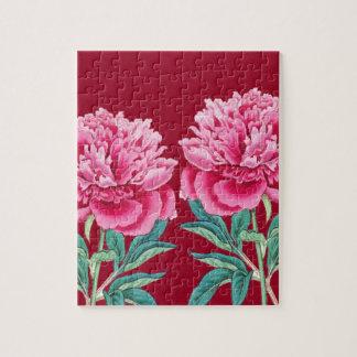 scarlet  pink peonies puzzles