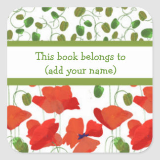 Scarlet Poppies and Poppy Buds Bookplates Square Sticker