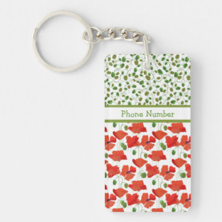 Scarlet Poppies and Poppy Buds Oblong Keychain