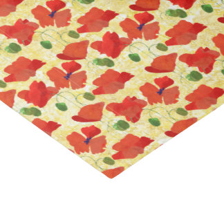 Scarlet Poppies Floral Pattern on Golden Yellow Tissue Paper