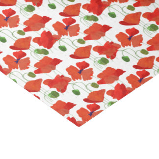 Scarlet Poppies Floral Pattern to Customize Tissue Paper