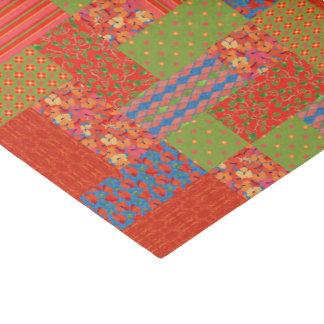 Scarlet Poppies Patterns Nostalgic Faux Patchwork Tissue Paper