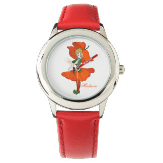 Scarlet Poppy Cute Flower Child Floral Funny Girl Watch