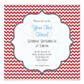 "Scarlet Red and White Chevron Stripes 5.25"" Square Invitation Card"