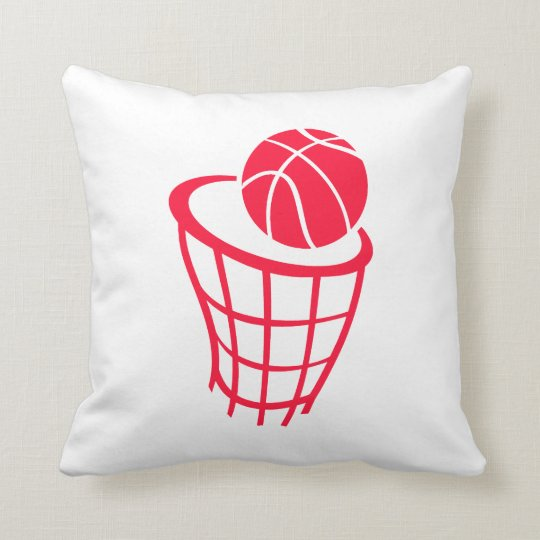 Scarlet Red Basketball Throw Pillow