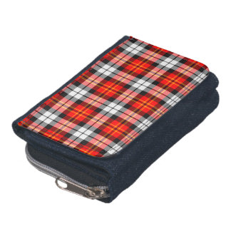 Scarlet Red, Black and White Sporty Plaid Wallets