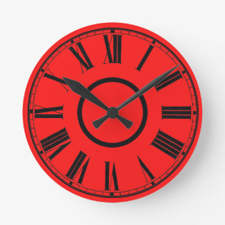Scarlet Red Clock Weathered Effect Roman Numbers