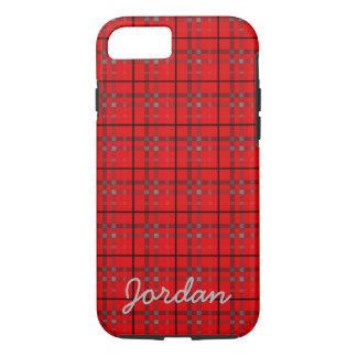 Scarlet Red, Gray, Black Plaid Name Monogram iPhone 7 Case
