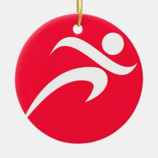Scarlet Red Running Ceramic Ornament