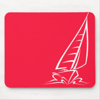 Scarlet Red Sailing; Sail Boat Mouse Pad