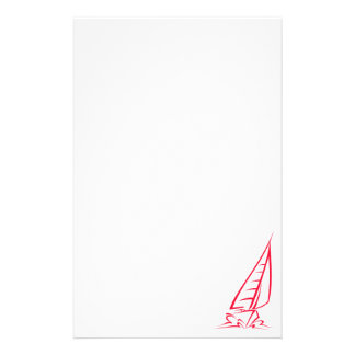 Scarlet Red Sailing; Sail Boat Stationery
