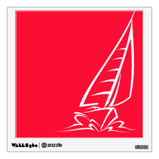 Scarlet Red Sailing; Sail Boat Wall Sticker
