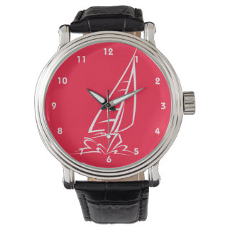 Scarlet Red Sailing; Sail Boat Wrist Watch