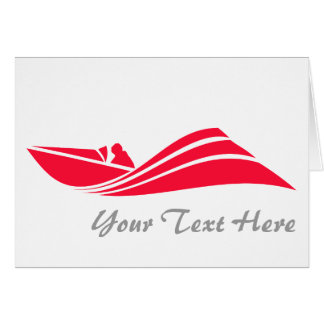 Scarlet Red Speed Boat Stationery Note Card