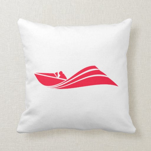Scarlet Red Speed Boat Throw Pillows