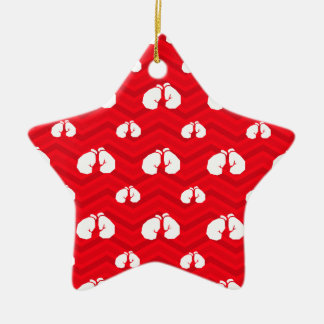 Scarlet Red, White, Chevron, Boxer, Boxing Gloves Ceramic Ornament