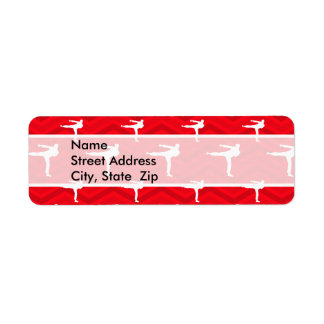Scarlet Red White Chevron Martial Arts Karate Return Address Labels