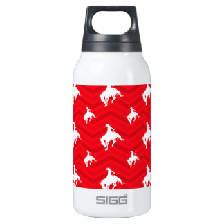 Scarlet Red, White, Chevron, Rodeo Cowboy Insulated Water Bottle