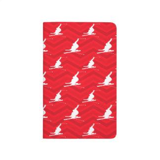 Scarlet Red, White, Chevron, Snow Ski Journal