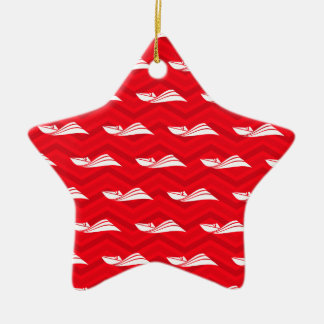 Scarlet Red, White, Chevron, Speed Boat Double-Sided Star Ceramic Christmas Ornament