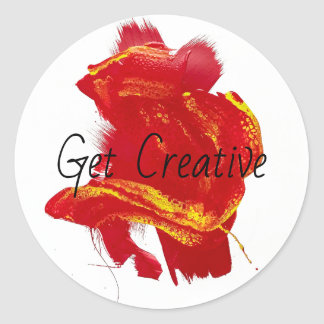 Scarlet Red Yellow Painterly Vivid Swipe Painting Classic Round Sticker
