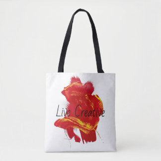 Scarlet Red Yellow Painterly Vivid Swipe Painting Tote Bag